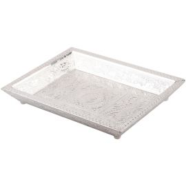 White Metal Plain Tray 2 Glass