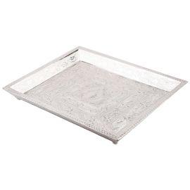 White Metal Plain Tray 4 Glass