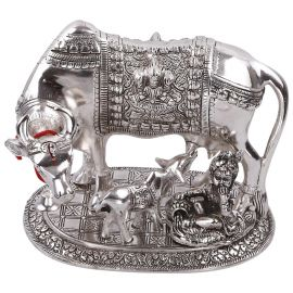 White metal cow n calf Jumbo