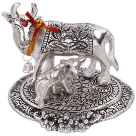 White metal cow n calf medium