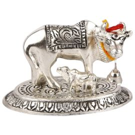 White Metal Cow n calf Oval medium