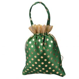 Dotted string bag with handle green