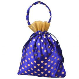 Dotted Bag With Handle Blue