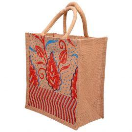 Jute Bag 10x11-Floral Leaf