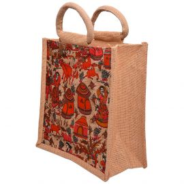 Kalamkari Jute Bag-Rural Life