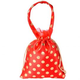 string bag dotted with handle orange