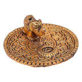 Elephant Agarbatti stand golden antiq