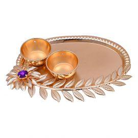 Metal Floral Leaf kumkum plate