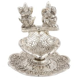 Whitemetal Ganesh Laxmi Diya  Big