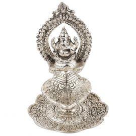 Whitemetal Ganesh Singasan Diya