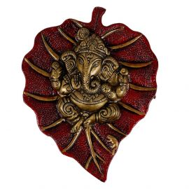 Ganesh Wall Hanging In Red Antique
