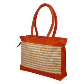 Jute Bag-Orange Horizontal stripes