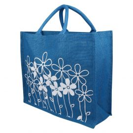 Jute Bag -Floral Blue Big
