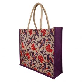 Jute Bag -Purple Parrot Jumbo