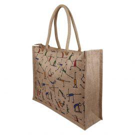 Jute Bag - Yoga Print Bag Big