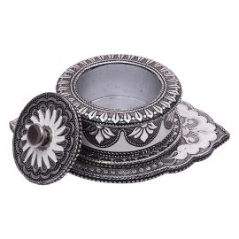 Whitemetal Oxidised Trinket Box Oval
