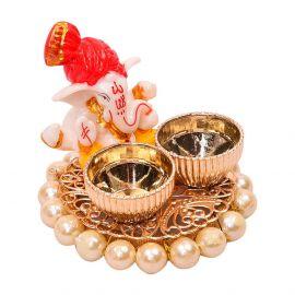 Pearl Base Pagdi Ganesh Kumkum set