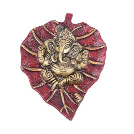 Leaf Ganesh Red Hanging Small