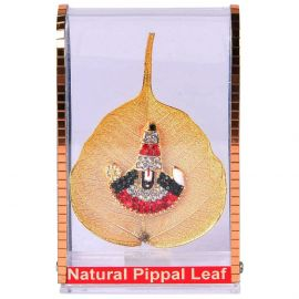 Gold Plated Natural Peepal Leaf Balaji Stand small