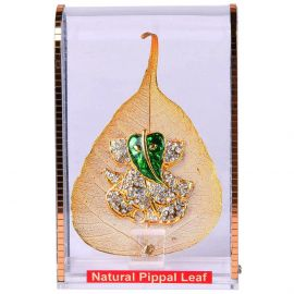 Gold Plated Natural Peepal leaf Ganesh stand small