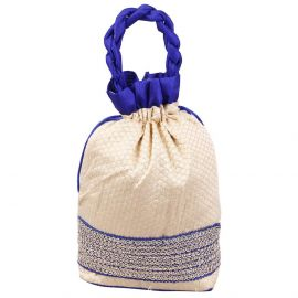Potli Bag-Blue Border Lace