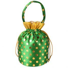 Potli Bag -Round Base Dotted Green