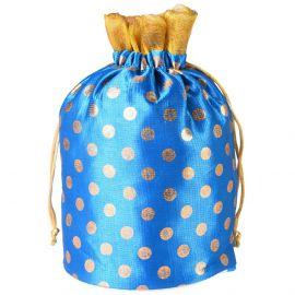 Potli Bag -Round Base Dotted Blue