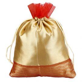 Potli Bag-Golden Satin Red