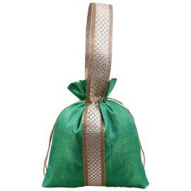 Potli Bag-Green Lace Handle