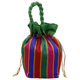 Potli Bag-Multicolor Big Stripes