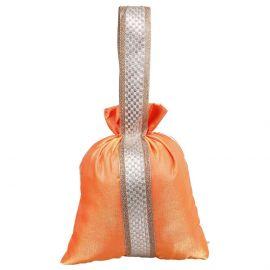 Potli Bag-Orange Lace With Handle