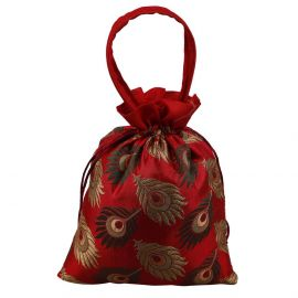 Potli Bag-Peacock Feather Red