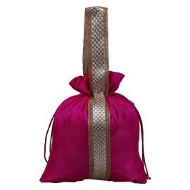 Potli Bag-Pink Lace With Handle