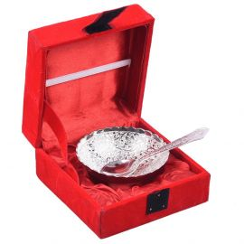 silver plated round cut bowl 4'