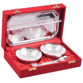 """Silver plated round bowl double set 4"""""""